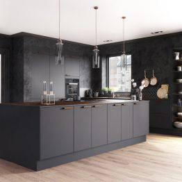 Aubo køkken Ringsted, sort køkken